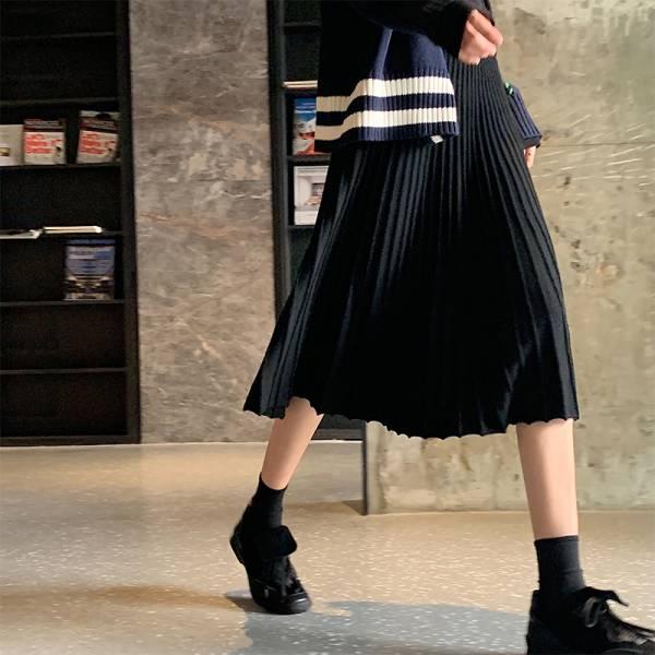 獨,旅人行。法式優雅針織傘狀半身裙【939BH】