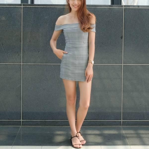 夏末花棧。平口格紋裙【830SA】