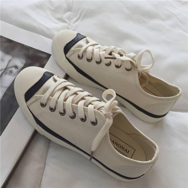 璀璨年華。水洗舊色拼接帆布鞋【844FA】