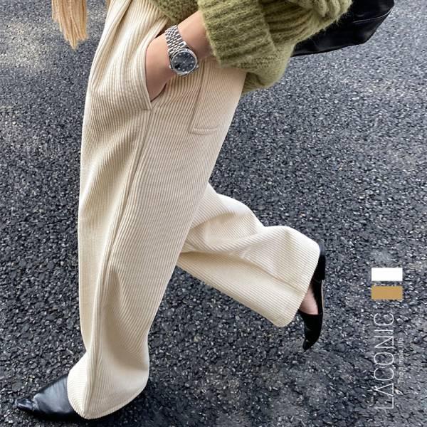 微光,霓雲海。復古女爵內刷毛燈芯絨長褲【051BC】