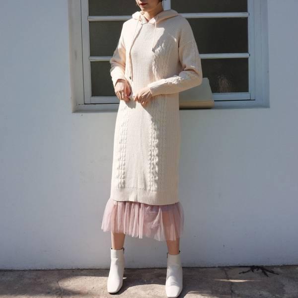 暖,燈海光 。小可愛針織連帽洋裝【006SG】