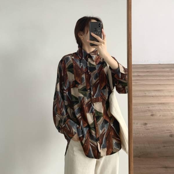 憶,時光夢 。復古幾何印象雪紡襯衫【002AQ】