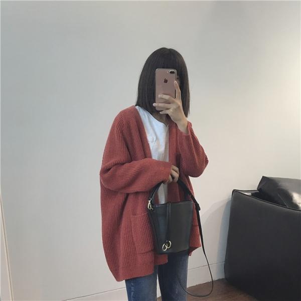 慵懶風長袖V領針織毛衣外套【7034BB】#0323