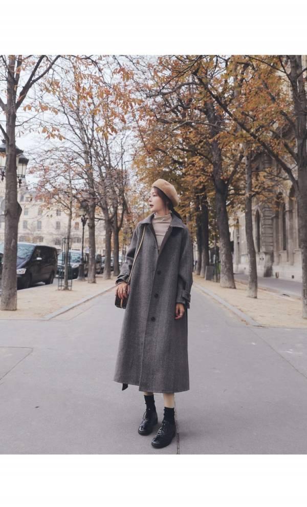 歡,嘉年華 。英倫浪漫羊毛呢繫帶大衣【941SA】