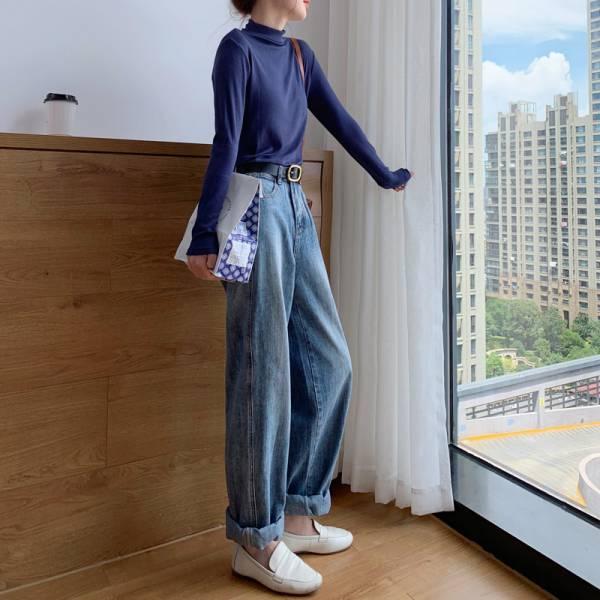 獨,旅人行。一個人旅行寬版高腰牛仔褲【939BA】