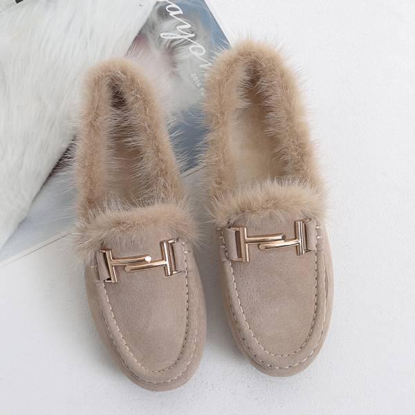 寒,初雪降 。暖呼呼炸毛莫卡辛鞋【949SA】