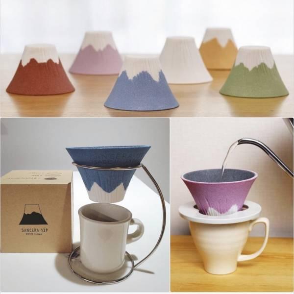 日本 COFIL Fuji 富士山有田燒陶瓷咖啡濾杯 內容物:濾杯 + 白色濾杯架(不含玻璃杯)