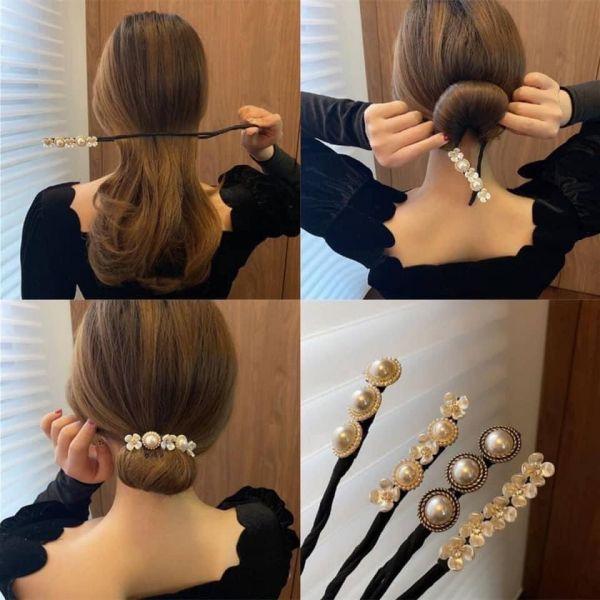 韓國網紅推薦復古珍珠系列丸子頭盤髮器/4入一組
