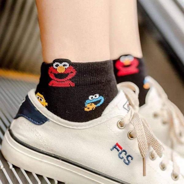 女孩滿版ELMO三色短襪(1組6雙)   女孩滿版ELMO三色短襪(1組6雙)