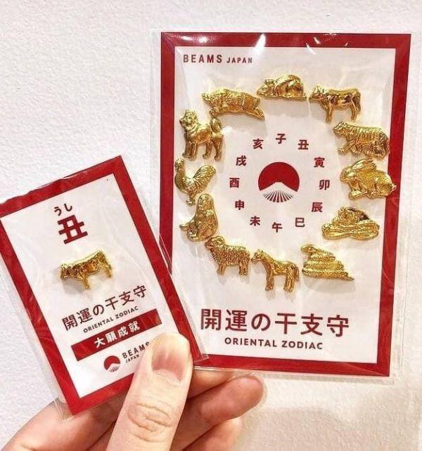 日本境內限定 BEAMS JAPAN 聯名 御守系列 / 職人手作 櫻花盛開御守 / 日本招財平安金箔蘋果