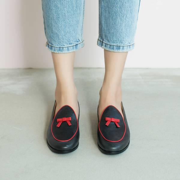 蠟筆擦色感!愛麗絲結花樂福鞋 黑紅 全真皮 MIT 【Major Pleasure】-紅心皇后 平底鞋,樂福鞋,,MIT,手工鞋,Vintage,復古