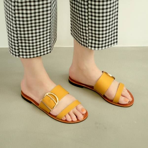 蜜蠟光澤!越穿越亮皮革涼拖鞋 全真皮 MIT -藤黃 MIT,真皮,度假,拖鞋,涼鞋