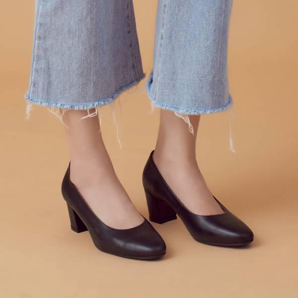 微整形效果!通勤OK小方頭中跟鞋 全真皮 MIT 【Major Pleasure】-黑加侖 真皮,MIT,跟鞋,方頭鞋,中跟鞋,通勤鞋