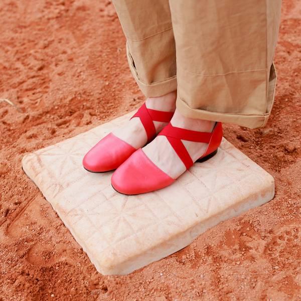 【零碼出清】修飾兩側足寬!交叉彈性帶小舞鞋 全真皮  MIT-紅 MIT,全真皮,芭蕾舞鞋,平底鞋