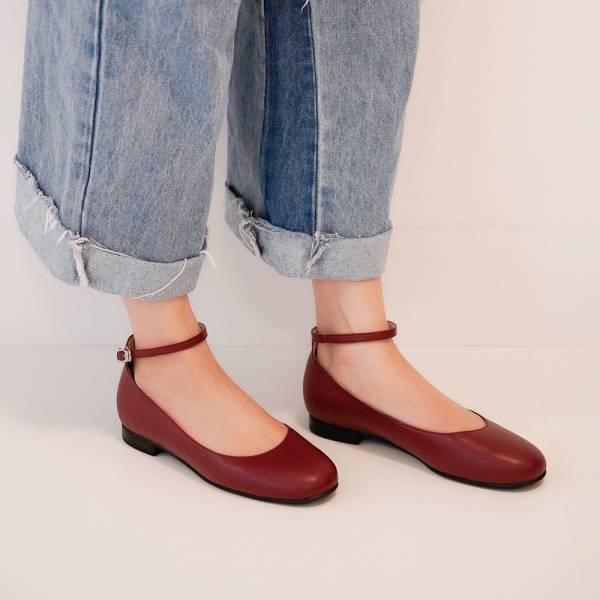 完美挖口!優雅小圓領繞踝平底鞋 全真皮 MIT-暗紅 MIT,真皮,平底鞋,好穿鞋
