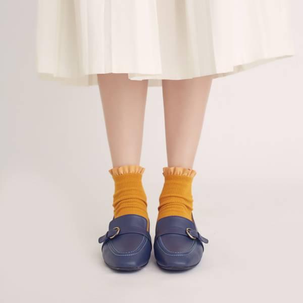 輕便直套式!繫皮帶方頭樂福鞋 深藍 全真皮 MIT 【Major Pleasure】-水手深藍 樂福鞋,平底鞋,方頭,休閒鞋,真皮鞋,mit