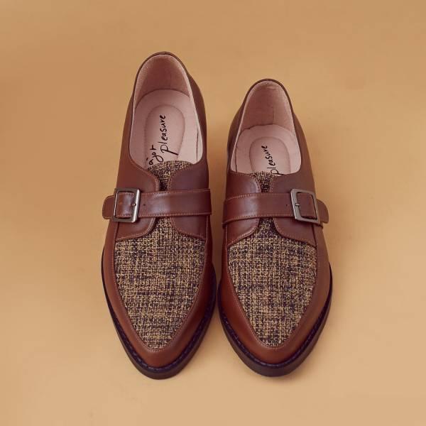 改良開襟式!不磨腳軟芯雙色孟克鞋 椰褐 全真皮 MIT 【Major Pleasure】-椰褐   大地色 真皮,孟克鞋,紳士鞋,MIT,牛津鞋