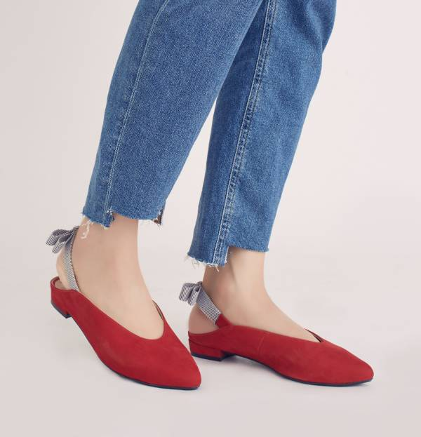 後繫帶穆勒!結花小禮物尖頭鞋 紅 全真皮 MIT 【Major Pleasure】-紅粉撲 平底鞋,穆勒鞋,尖頭鞋,MIT,手工鞋