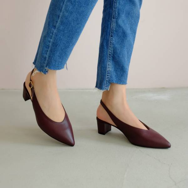 柔軟親膚革!調整比例U口尖頭鞋 酒紅 全真皮 MIT 【Major Pleasure】-肉桂紅酒 手工鞋,跟鞋,中跟鞋,真皮鞋
