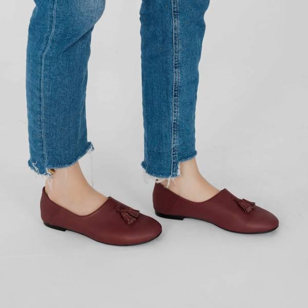 燈穗小流蘇!蓬柔綿綿懶人便鞋 紫紅 全真皮 MIT 【Major Pleasure】-葡萄紅 無印,平底鞋,MIT,真皮鞋,休閒鞋,日本