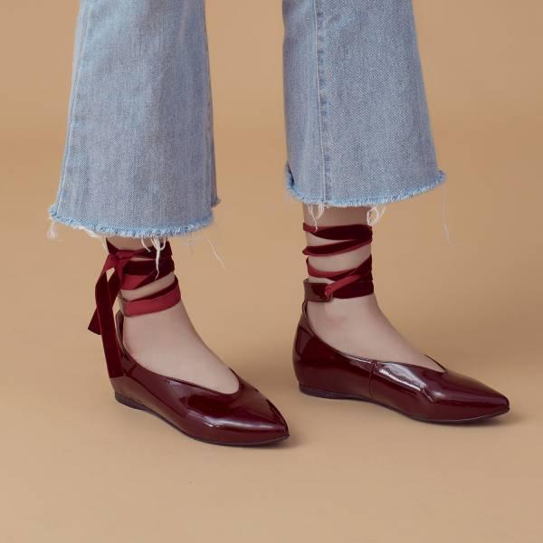 芭蕾繞踝帶!深V挖口內增高尖頭鞋 全真皮 MIT 【Major Pleasure】-酒紅  婚禮尾牙耶誕穿搭 真皮,MIT,平底鞋,芭蕾舞鞋,尖頭鞋