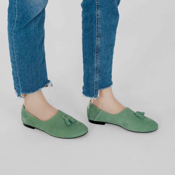 燈穗小流蘇!蓬柔綿綿懶人便鞋 綠 全真皮 MIT 【Major Pleasure】-森林綠 無印,平底鞋,MIT,真皮鞋,休閒鞋,日本