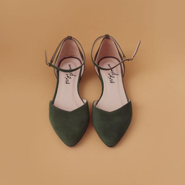 優雅日常鞋!倒V字顯瘦足踝繫帶鞋 橄欖綠 全真皮 MIT 【Major Pleasure】-橄欖綠  草木系 MIT,真皮,尖頭鞋,好穿鞋,舒適鞋