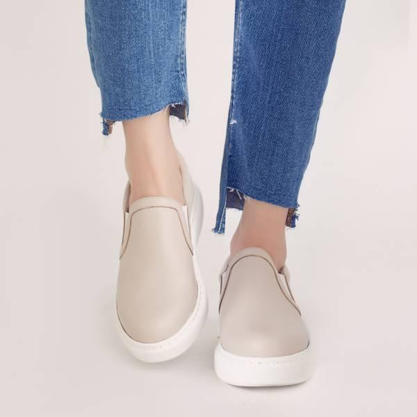 漫步在雲端!輕盈羽量記憶舒壓懶人鞋 米 全真皮 MIT -米色 MIT,真皮,厚底鞋,懶人鞋,出國好穿鞋,輕便鞋