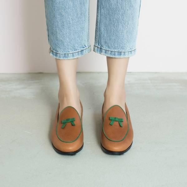 蠟筆擦色感!愛麗絲結花樂福鞋 棕綠 全真皮 MIT 【Major Pleasure】-綠野仙蹤  草木系 平底鞋,樂福鞋,,MIT,手工鞋,Vintage,復古