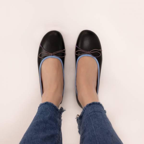 漸層調色盤!斜方頭寬楦娃娃鞋 黑 全真皮MIT 【Major Pleasure】-藍墨漸層 mit,真皮鞋,芭蕾舞鞋,平底鞋,娃娃鞋