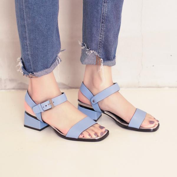 研究室的選品・微金屬光彩!一字方頭低跟涼鞋 藍 全真皮 【Major Pleasure】-天空色 涼鞋,拖鞋.真皮鞋