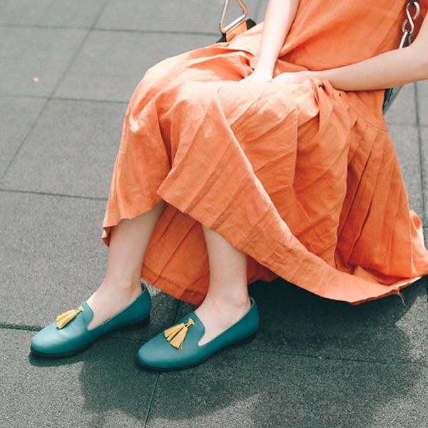 舒芙蕾足感!搖擺流蘇霧面樂福鞋 藍綠 義大利進口牛皮 MIT -藍綠 MIT,真皮,流蘇,樂福鞋,出國好穿鞋