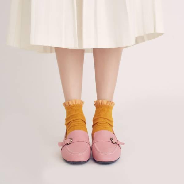 輕便直套式!繫皮帶方頭樂福鞋 粉紅 全真皮 MIT 【Major Pleasure】-火鶴粉紅 樂福鞋,平底鞋,方頭,休閒鞋,真皮鞋,mit