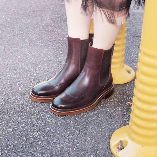 研究室的選品・西倫敦女孩!筆直切爾西靴 咖 真皮靴 【Major Pleasure】-焦琥珀