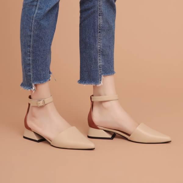大容量尖頭鞋!異色皮革繫帶跟鞋 米黃 全真皮MIT【Major Pleasure】-黃薑色