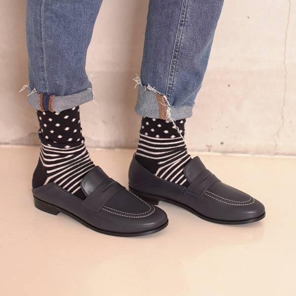 可踩兩穿式!月球漫步便士樂福鞋 藍 環保超纖MIT 【Major Pleasure】-海軍色 樂福鞋,mit,出國好走鞋.休閒鞋