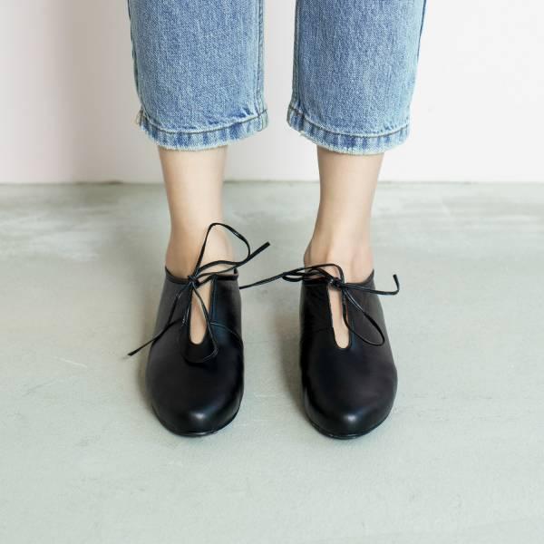 軟軟枕頭足感!舒緩U口綁帶鞋 黑 全真皮 MIT 【Major Pleasure】-深黑蠟 平底鞋,,MIT,手工鞋,真皮鞋,出國好穿鞋