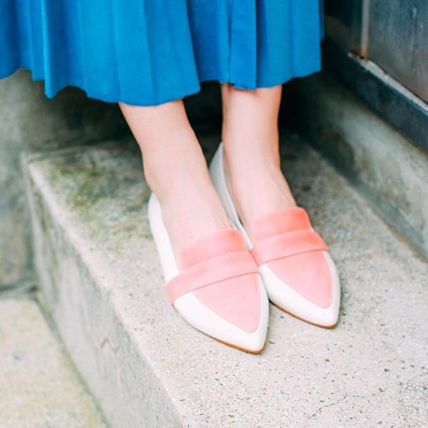 【零碼出清】完美偽瘦腳!蜜光粉蠟雙色平底鞋 內外全真皮 MIT -珊瑚紅 MIT,真皮,平底鞋,尖頭鞋