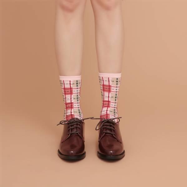 sheer socks透紗襪・幾何系列_灰玫粉_經典格紋透紗中筒襪・PAPERSELF mit,短襪,棉襪,+10