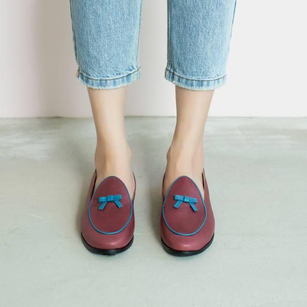 蠟筆擦色感!愛麗絲結花樂福鞋 紫藍 全真皮 MIT 【Major Pleasure】-烏蘇拉禮服 平底鞋,樂福鞋,,MIT,手工鞋,Vintage,復古
