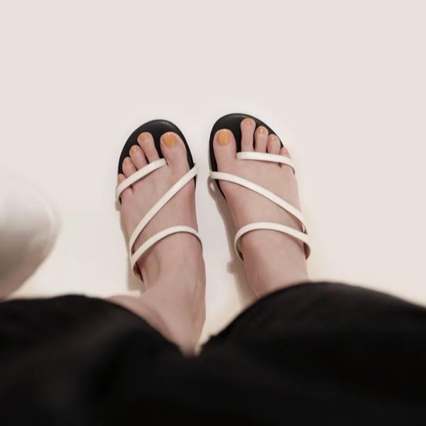 優雅流線!纖纖細鞋帶涼拖鞋 白 MIT 【Major Pleasure】-牛奶白色