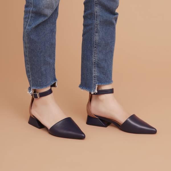 大容量尖頭鞋!異色皮革繫帶跟鞋 深藍 全真皮MIT【Major Pleasure】-花青色