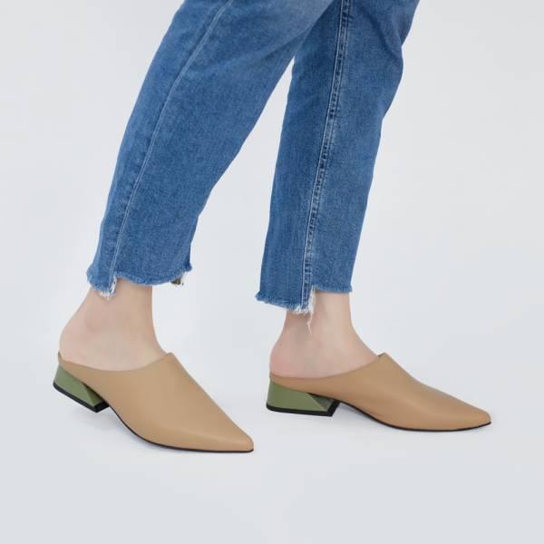 微正式!簡單純色調尖頭穆勒鞋 裸綠 全真皮MIT【Major Pleasure】-麥餅色  牛奶糖色 MIT,真皮鞋,穆勒鞋,好穿鞋,拖鞋