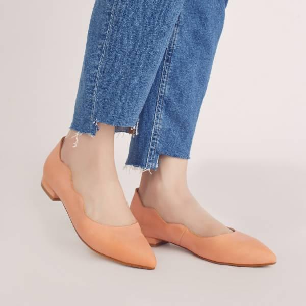 特調花色!雲朵小波浪尖頭鞋 橙色鬱金香 全真皮 MIT【Major Pleasure】-橙色鬱金香 MIT,真皮,尖頭鞋,平底鞋