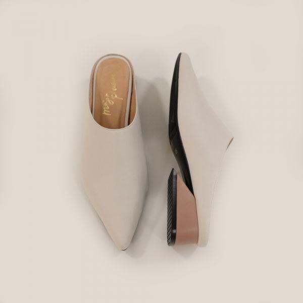 微正式!簡單純色調尖頭穆勒鞋 粉米 全真皮MIT【Major Pleasure】-櫻餅色 MIT,真皮鞋,穆勒鞋,好穿鞋,拖鞋