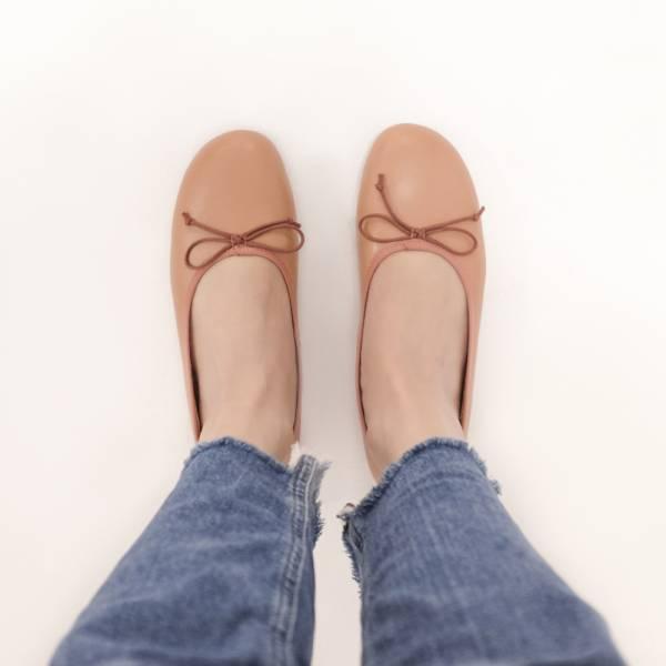 漸層調色盤!斜方頭寬楦娃娃鞋  全真皮MIT 【Major Pleasure】-春麗桃色  橘 mit,真皮鞋,芭蕾舞鞋,平底鞋,娃娃鞋