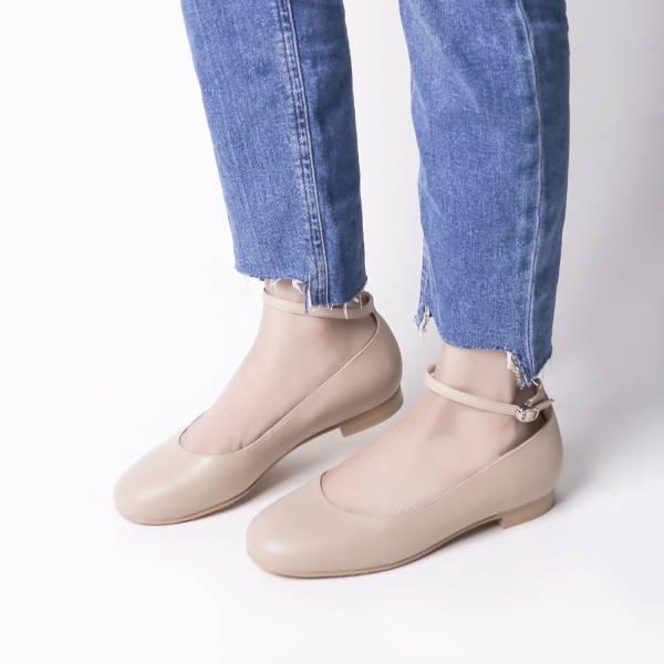 完美挖口!優雅小圓領繞踝平底鞋 全真皮 裸色 MIT【Major Pleasure】-小麥膚色  大地色 MIT,真皮,平底鞋,好穿鞋