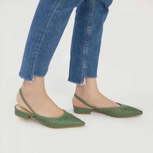 研究室的選品・編織花葉瓣平底涼鞋 綠 全真皮【Major Pleasure】-綠芽色 真皮鞋,涼鞋,編織鞋
