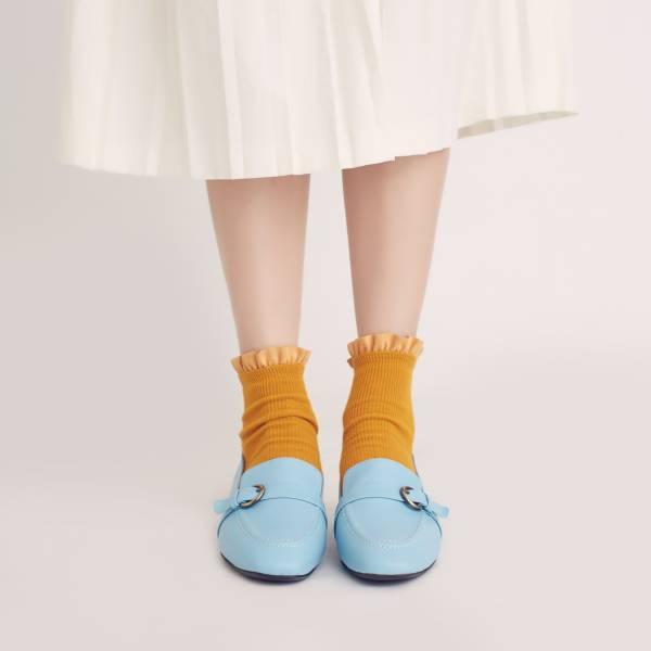 輕便直套式!繫皮帶方頭樂福鞋 天藍 全真皮 MIT 【Major Pleasure】-天藍 樂福鞋,平底鞋,方頭,休閒鞋,真皮鞋,mit