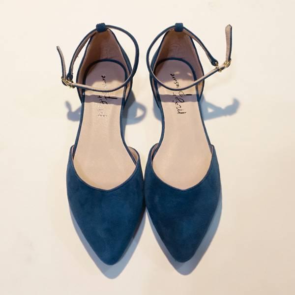 優雅日常鞋!倒V字顯瘦足踝繫帶鞋 藍 全真皮 MIT 【Major Pleasure】-琉璃藍 MIT,真皮,尖頭鞋,好穿鞋,舒適鞋